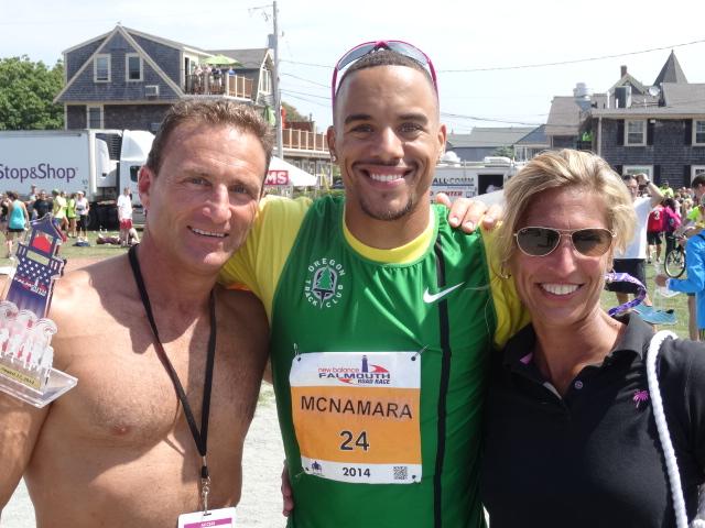 6th placer, miler Jordan McNamara (33:47), with host family Rick & Melissa Rizzitano of North Falmouth.