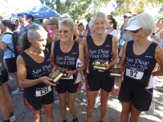 SDTC Age-Group Champs (l-r) Virginia Lopez, Chula Vista, Ca. 1st, 70+; Martha Walker, San Diego, 1st, 75+; Mary Ryzner, Escondido, 1st, 60-64; Manya Hullt, Carlsbad, 1st, 60-69