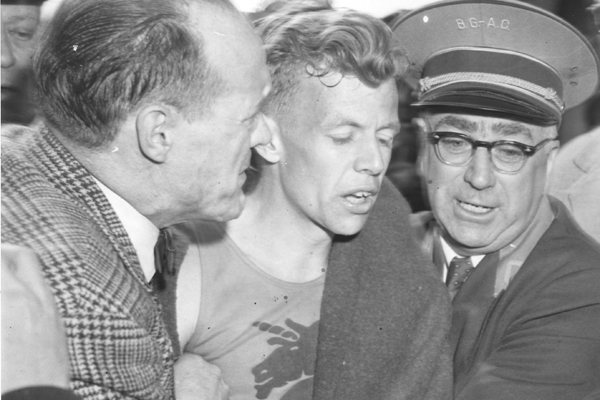 With Jock Semple (right) following his 1957 win