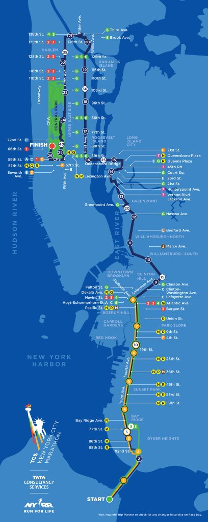 2014 TCS NYC Marathon Map. Course runs south to north.  NW wind comes at runners from top left corner