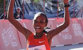 Rita Jeptoo in better times, winning her second Chicago Marathon title in October