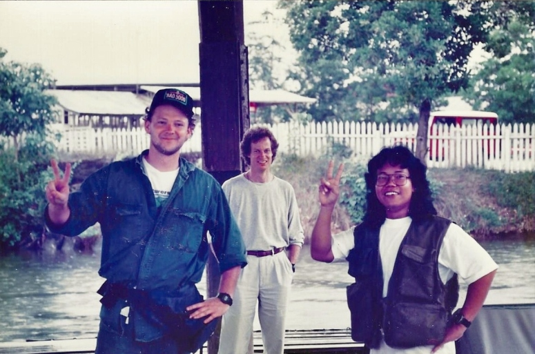 With Rich Jayne (left) and Indonesian film maker German on Borneo 1991