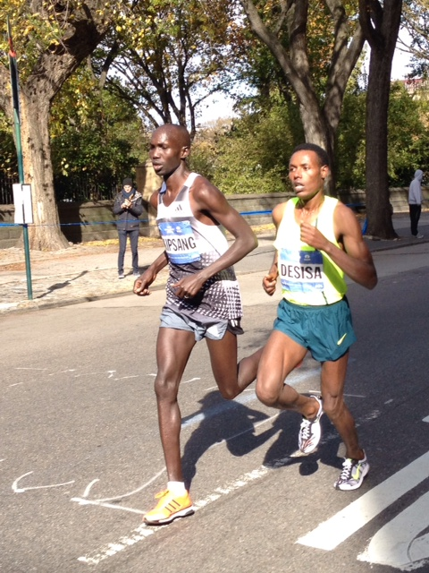 Down Fifth Avenue with Kipsang and Desisa in NYC 2014. Kipsang took the win.