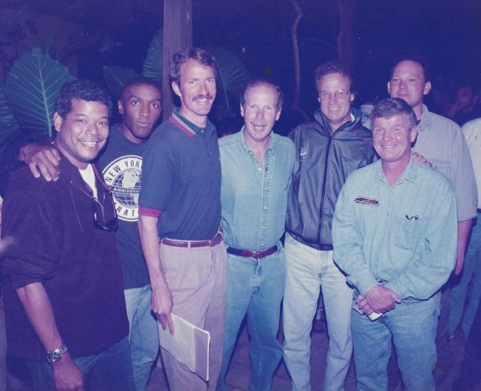 Road Race of the Month crew:  (l-r) Dale Wong, Alex Simon, Ed Eyestone, Guatemala President Alvaro Arzu, TR, Mike Long, Rich Jayne - Coban, Guatemala 1997