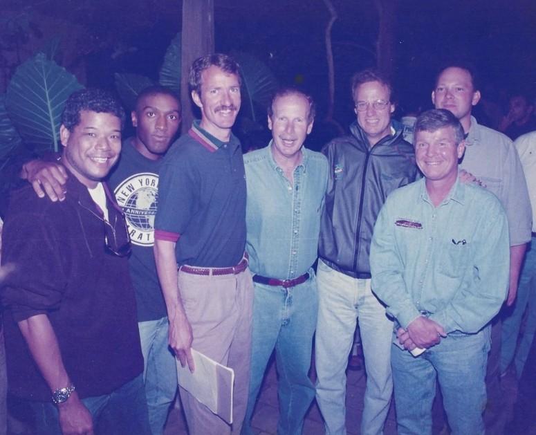 Road Race of the Month crew:  (l-r) Dale Wong, Alex Simon, Ed Eyestone, Guatemala President Alvaro Arzu, TR, Mike Long, Rich Jayne - Coban, Guatemala 1997
