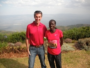 Brendan Reilly in Kenya with two-time World Marathon champion Edna Kiplagat