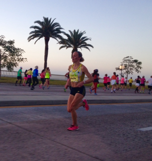 Women's champion Jen Rhines on the way to victory on Bayshore Blvd.