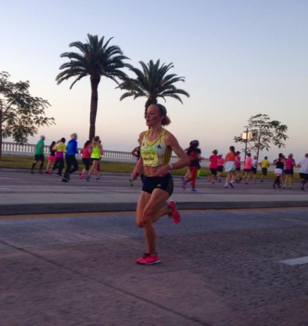 Women's champion Jen Rhines on the way to victory on Bayshore Blvd.