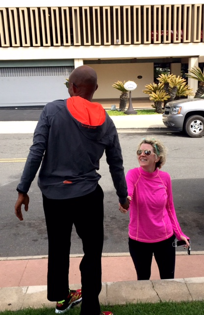 Balboa Park regulars: Meb with fan Tiffany Borsheim