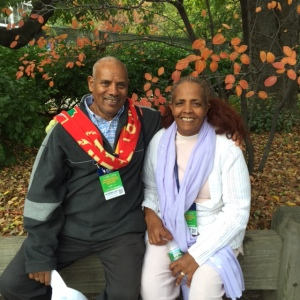 Meb's proud parents in Central Park