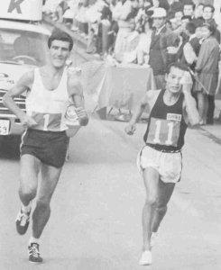 Derek Clayton battling Seiichiro Sasaki at Fukuoka Marathon 1967