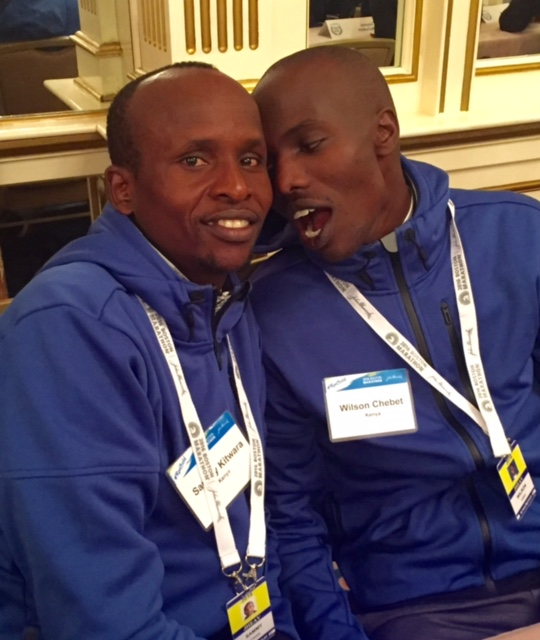 Good friends Sammy Kitwara (left) and Wilson Chebet