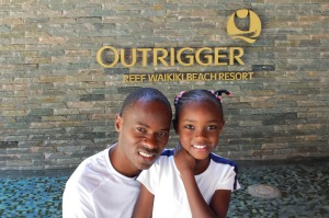 Patrick Makau and daughter Christine enjoying the breezes at the Outrigger