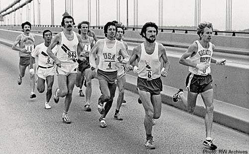 Bill Rodgers and Tom Fleming lead inaugural Five-borough NYC Marathon over Verrazano Narrows Bridge