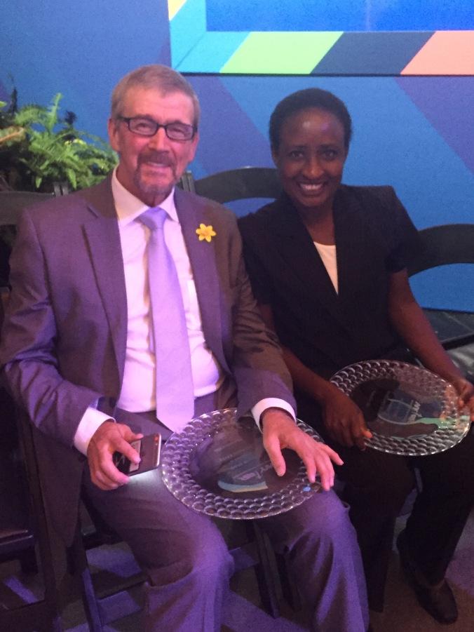 New York City Marathon Hall of Fame inductees Steve Jones and Margaret Okayo