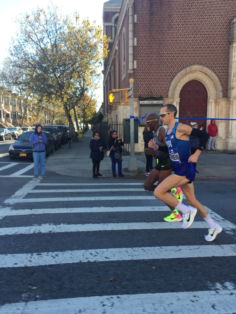 Ritz and Abdi Abdirahman up 4th Avenue in Brooklyn- 15:15 at 5K into headwind