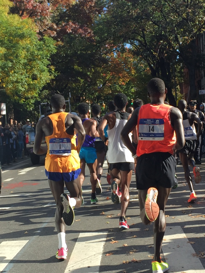 Stanley Biwott & Mammoth Lakes Shadrack Biwott on tail of pack up Lafayette Avenue - 8 miles 39:18