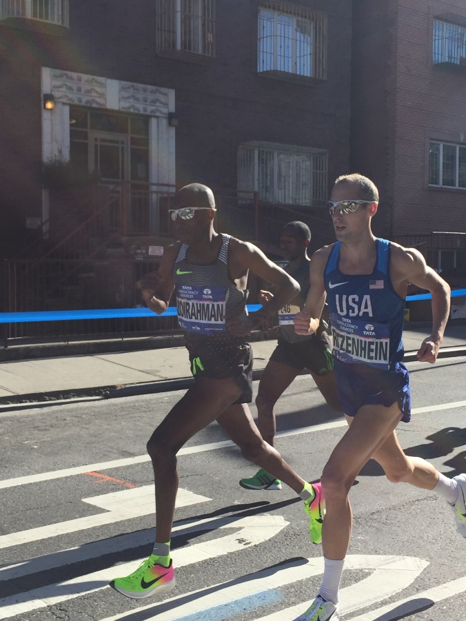 Abdi Abdirahman at age 39 ( with the same proviso that Ghebrslassie is 20) joins Ritz for the romp toward halfway.