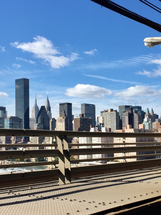 Manhattan skyline looms