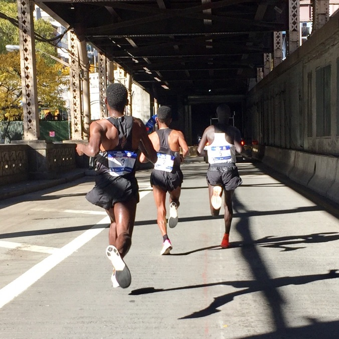 Flying down off 59th Street Bridge st 16 miles - 1:17:56 (4:47 16th mile)
