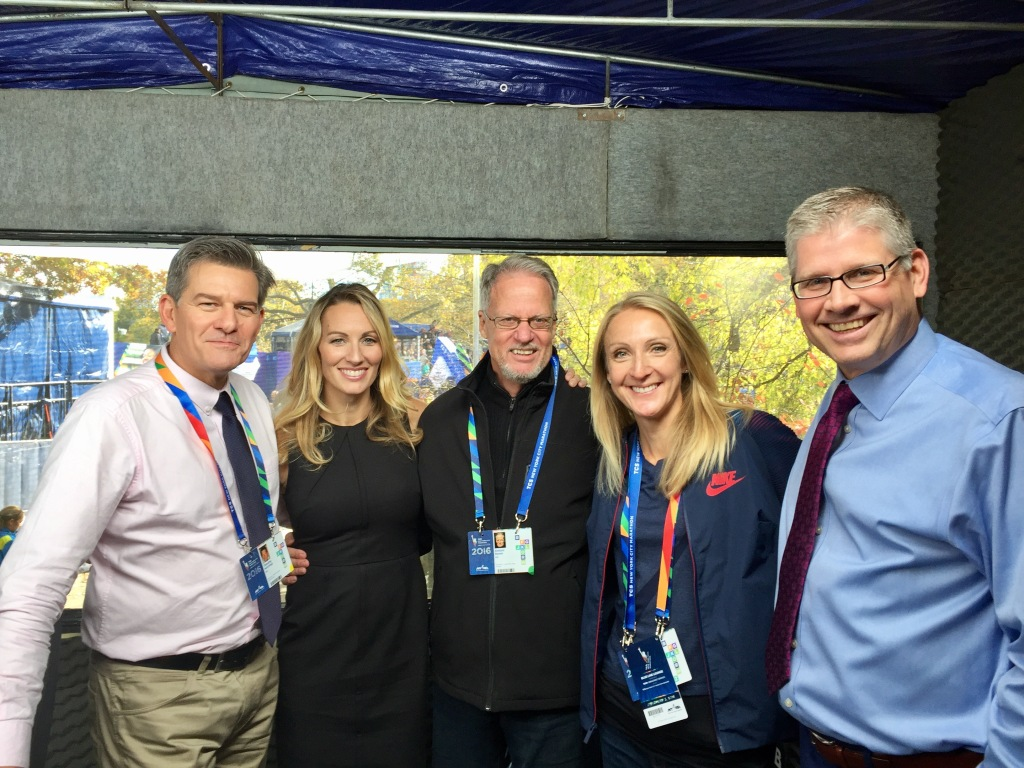 ESPN2 crew: Tim Hutchings, Carrie Tollefson, me, Paula Radcliffe, And John Anderson. That's a wrap for NYC 2016. Thanks for tuning in.